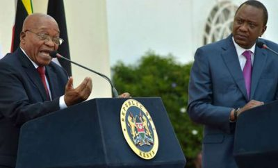 South African President Jacob Zuma (left) speaks next to his Kenya's counterpart Uhuru Kenyatta.